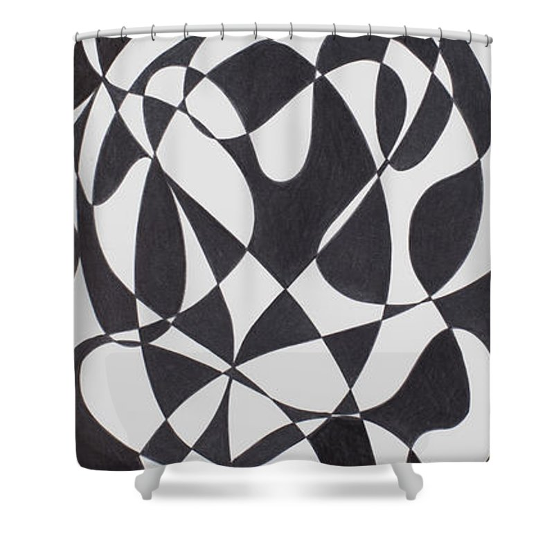 Synesthetic Painting Made On The Studies Of Dark Matter In Quantum Physics Shower Curtain featuring the painting Dark Matter by George Sanen