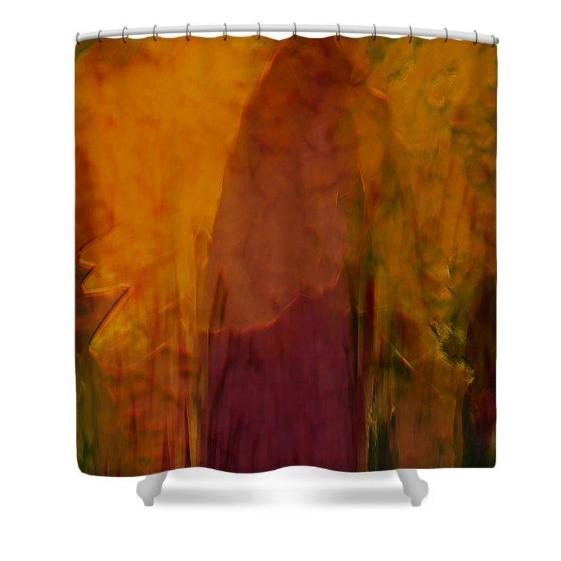 Abstract Art Shower Curtain featuring the digital art Dark Shadow by Linda Sannuti