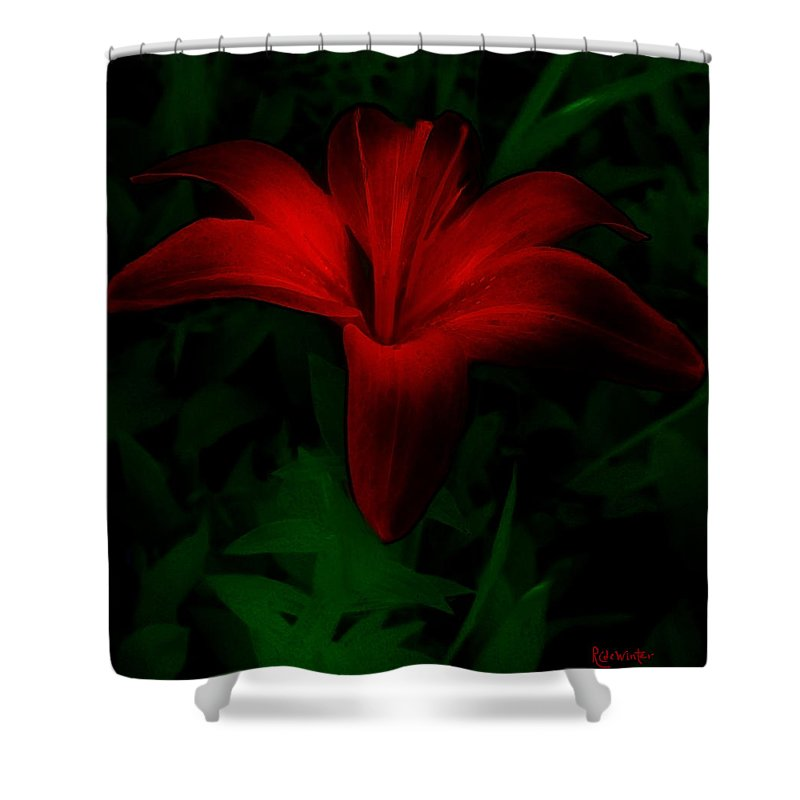 Lily Shower Curtain featuring the painting Dark Star by RC DeWinter