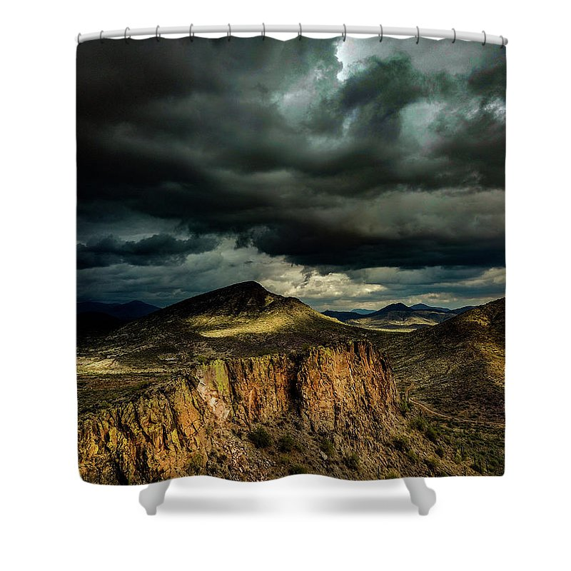 Drone Photography Shower Curtain featuring the photograph Dark Storm Clouds Over Cliffs by David Stevens