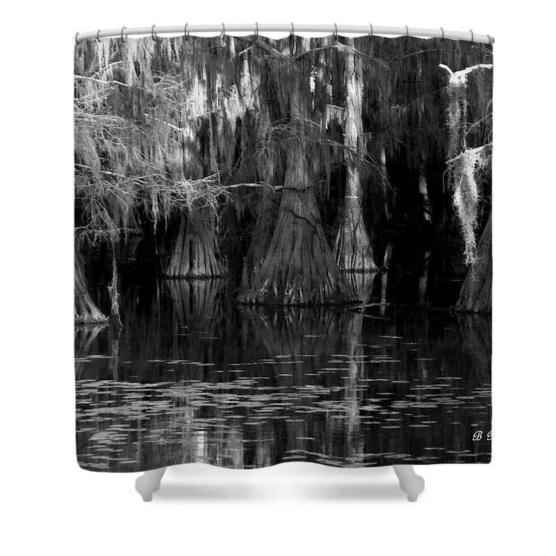 Caddo Shower Curtain featuring the photograph Dark Water by Betty Northcutt