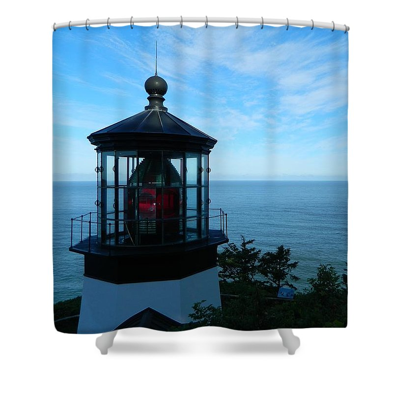 Oregon Shower Curtain featuring the photograph Darkened Lighthouse by Gallery Of Hope