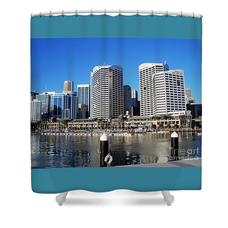 Darling Harbour Shower Curtain featuring the photograph Darling Harbour Sydney Australia by Kaye Menner