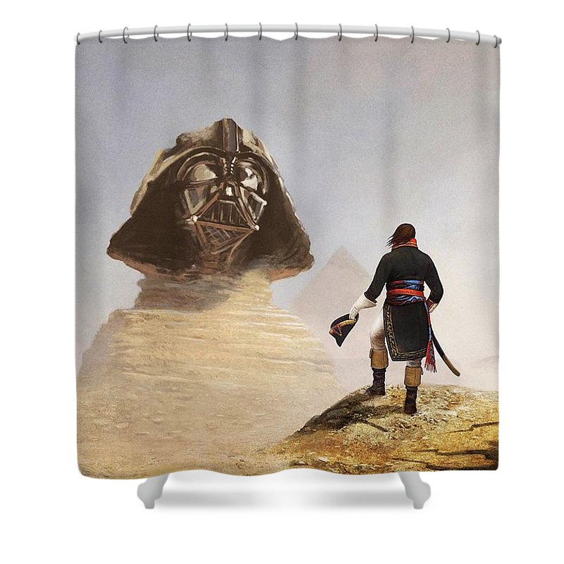 Scifi Shower Curtain featuring the digital art Darth Sphinx 3 by Andrea Gatti