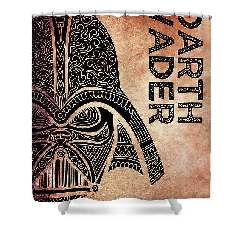 Darth Vader Shower Curtain featuring the mixed media Darth Vader - Star Wars Art - Brown by Studio Grafiikka