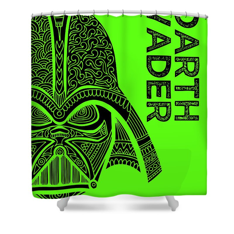 Darth Vader Shower Curtain featuring the mixed media Darth Vader - Star Wars Art - Green by Studio Grafiikka