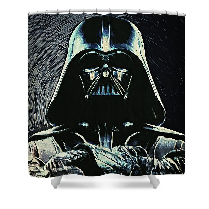 Darth Vader Shower Curtain featuring the digital art Darth Vader by Zapista OU