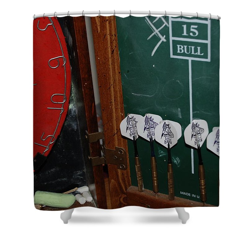 Macro Shower Curtain featuring the photograph Darts And Board by Rob Hans
