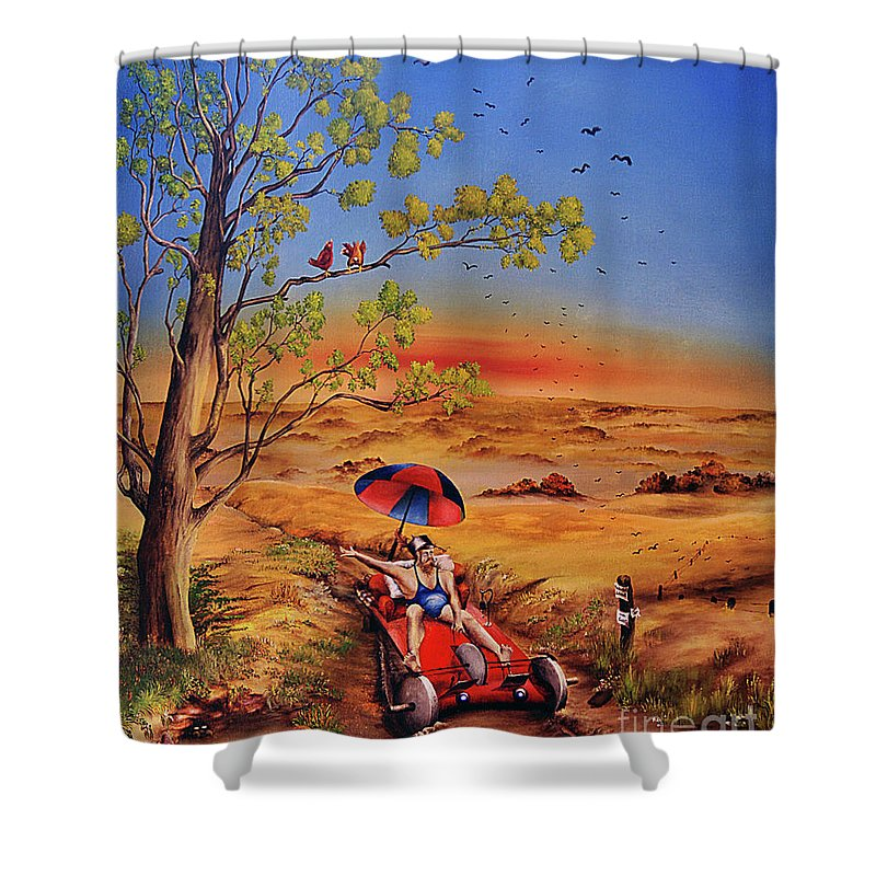 Self Powered Vehicle Shower Curtain featuring the painting Das Gluck by Ilona Van Hoek