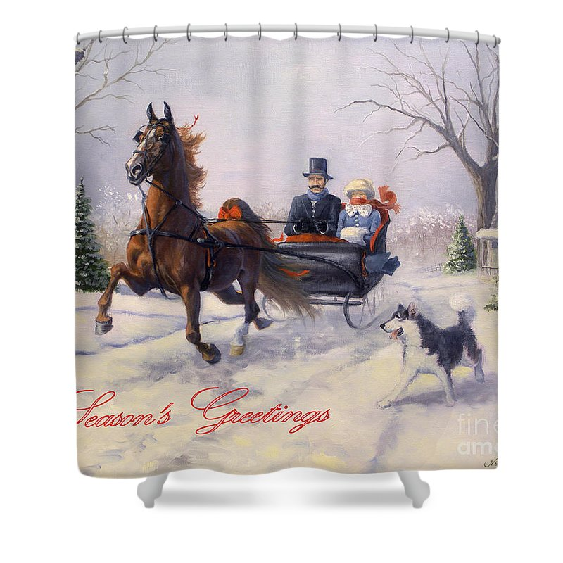 Equine Christmas Cards Shower Curtain featuring the painting Dashing Through The Snow by Jeanne Newton Schoborg