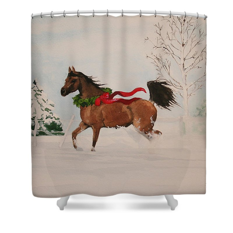 Horse Shower Curtain featuring the painting Dashing Thru The Snow by Jean Blackmer