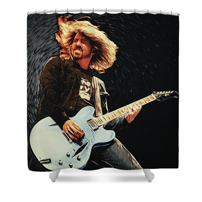 Dave Grohl Shower Curtain featuring the digital art Dave Grohl by Zapista Zapista