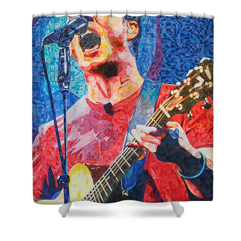Dave Matthews Shower Curtain featuring the drawing Dave Matthews Squared by Joshua Morton