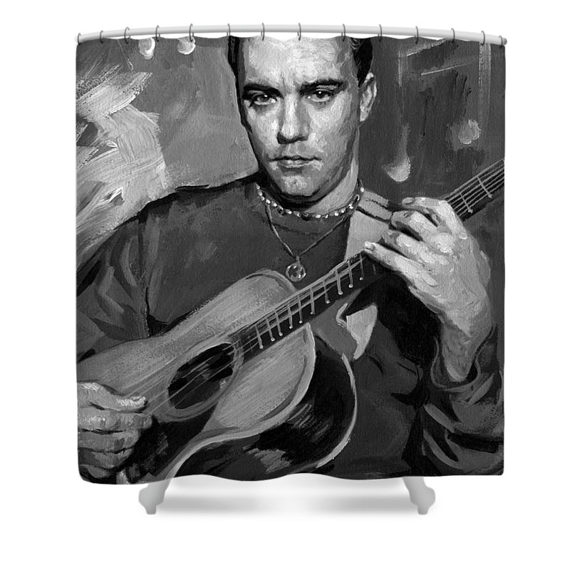 Dave Matthews Shower Curtain featuring the painting Dave Matthews by Ylli Haruni