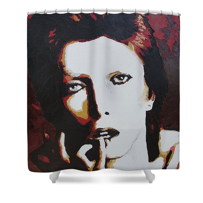 David Bowie Shower Curtain featuring the painting David Bowie by Ricklene Wren