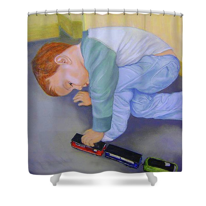 Portrait Shower Curtain featuring the painting Toy Train by Jane Honn