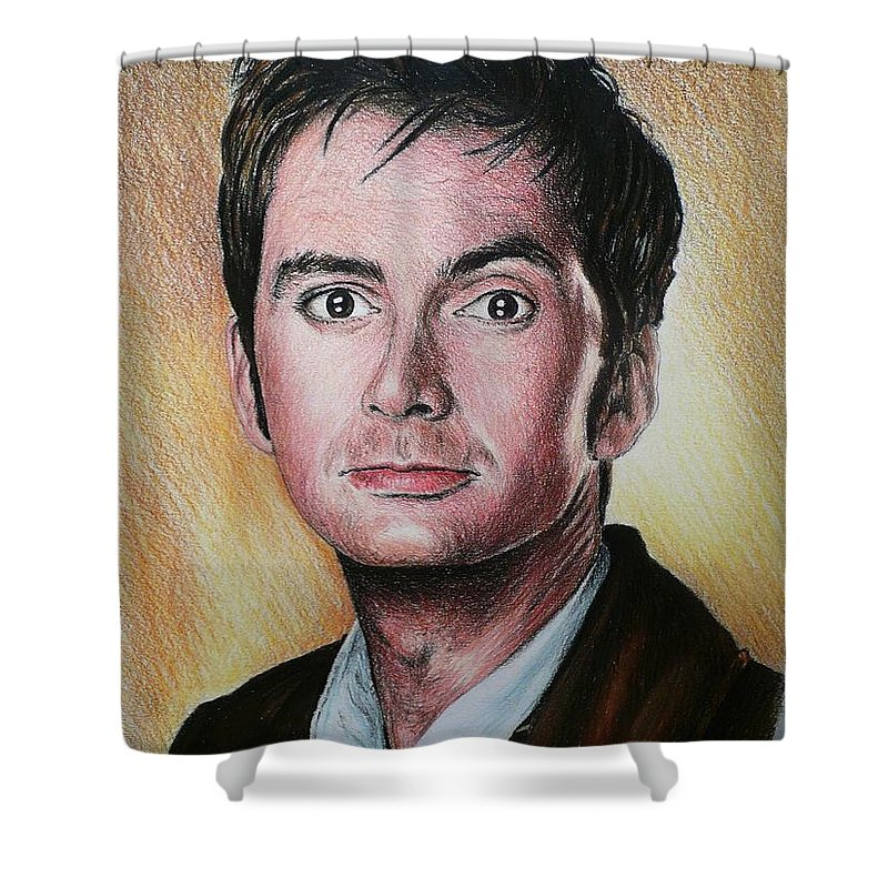 Portrait Shower Curtain featuring the painting David Tennant by Andrew Read