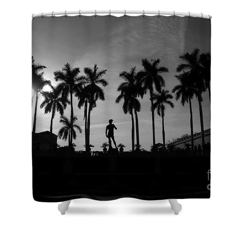 David Shower Curtain featuring the photograph David With Palms by David Lee Thompson