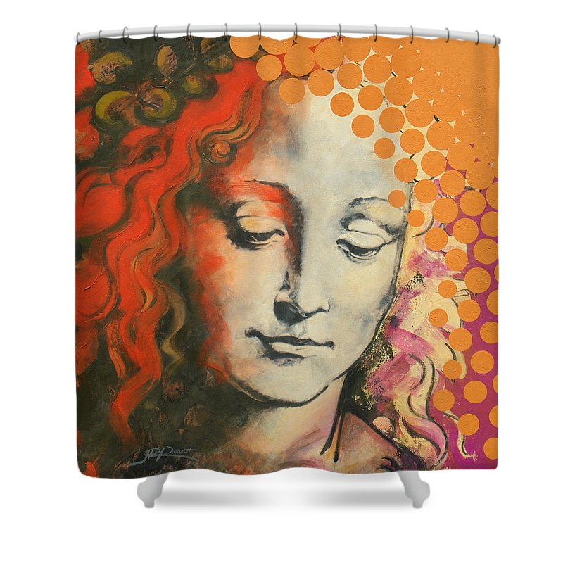 Figurative Shower Curtain featuring the painting Davinci's Head by Jean Pierre Rousselet
