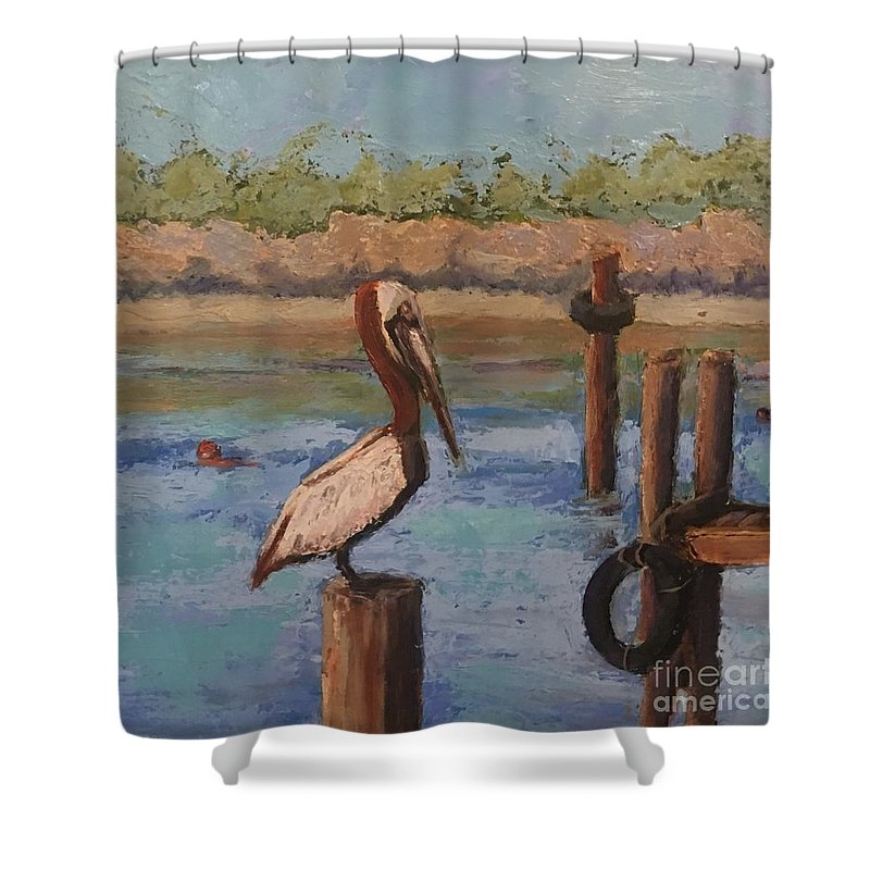 Blue Shower Curtain featuring the painting Davis Bayou by Leslie Dobbins