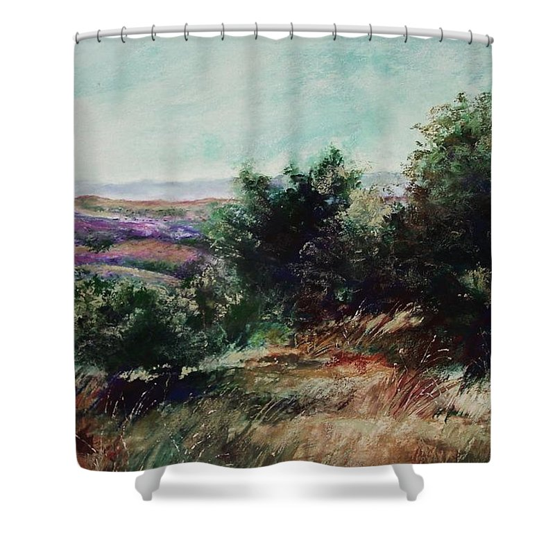 Pastel Shower Curtain featuring the painting Davis Mountain by Marlene Gremillion