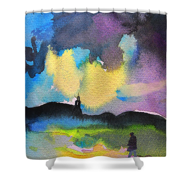 Watercolour Painting Shower Curtain featuring the painting Dawn 05 by Miki De Goodaboom