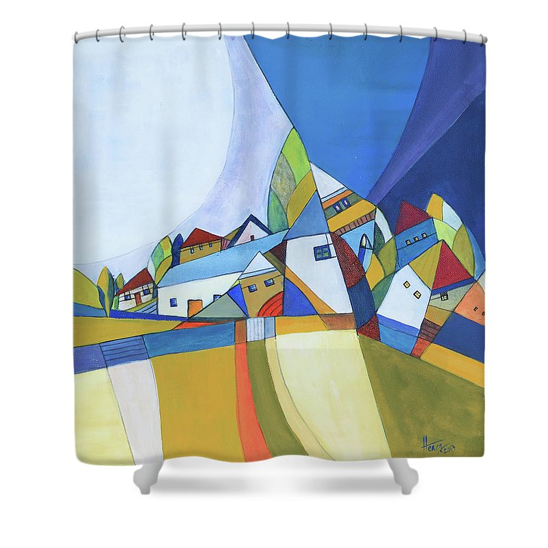 Acrylic Shower Curtain featuring the painting Dawn by Aniko Hencz