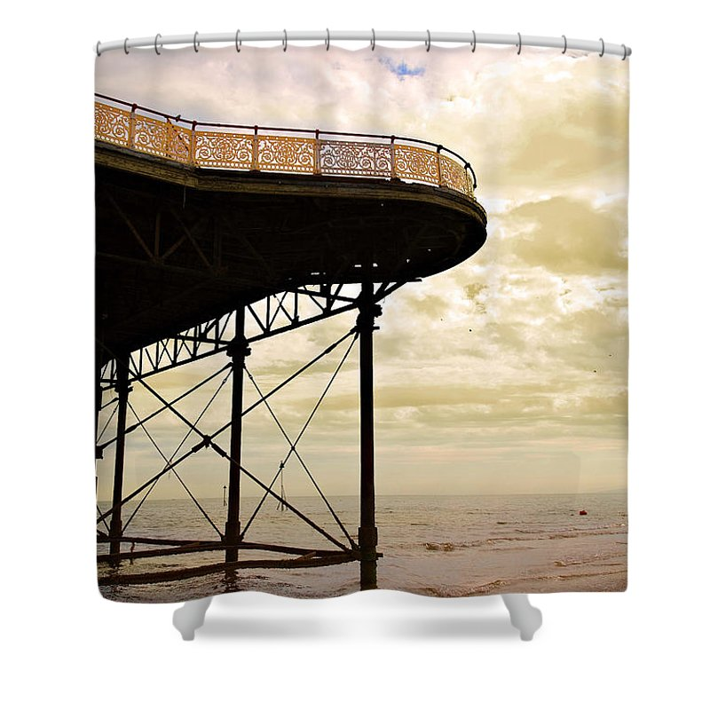 Victoria Shower Curtain featuring the photograph Dawn At Colwyn Bay Victoria Pier Conwy North Wales Uk by Mal Bray