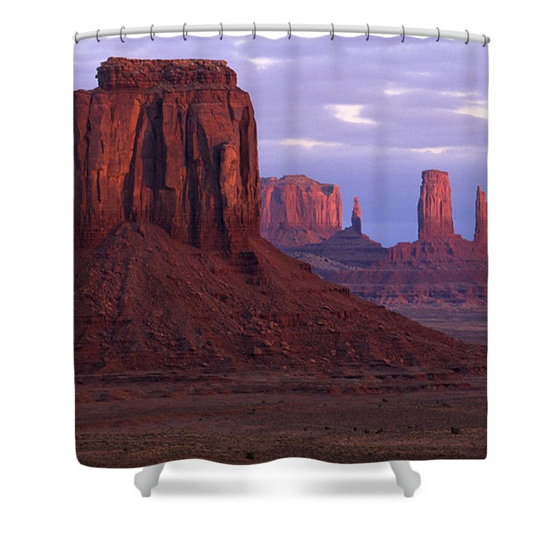 Monument Valley Shower Curtain featuring the photograph Dawn At Monument Valley by Sandra Bronstein