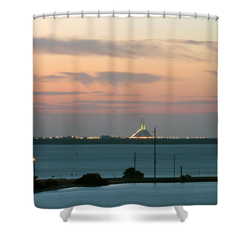 Sunshine Shower Curtain featuring the photograph Dawn At The Sunshine Skyway Bridge Viewed From Tierra Verde Florida by Mal Bray
