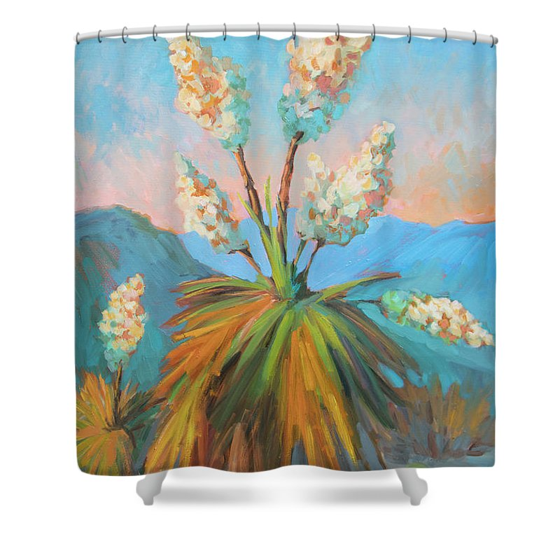 Desert Shower Curtain featuring the painting Dawn At Yuccaland by Diane McClary
