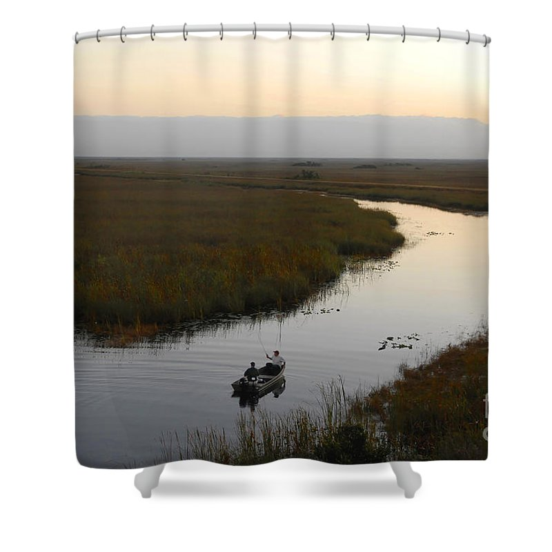 Fishing Shower Curtain featuring the photograph Dawn Everglades Florida by David Lee Thompson