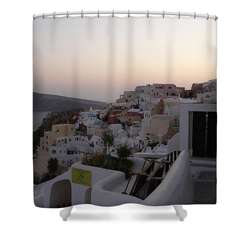 Landscape Shower Curtain featuring the photograph Dawn In Oia Santorini Greece by Valerie Ornstein