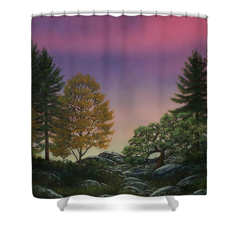 Mountains Shower Curtain featuring the painting Dawn Of Day by Frank Wilson