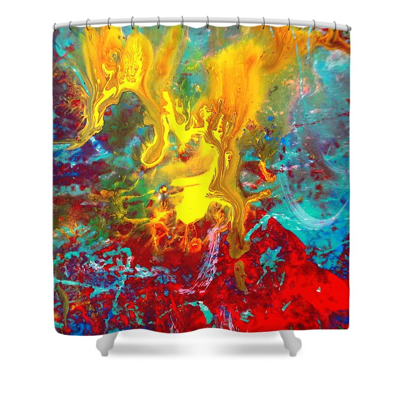 Abstract Shower Curtain featuring the painting Dawn Of The Universe by Natalie Holland