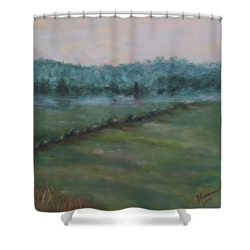 Pastel Shower Curtain featuring the painting Dawn Over The Railroad Cut-gettysburg by Joann Renner