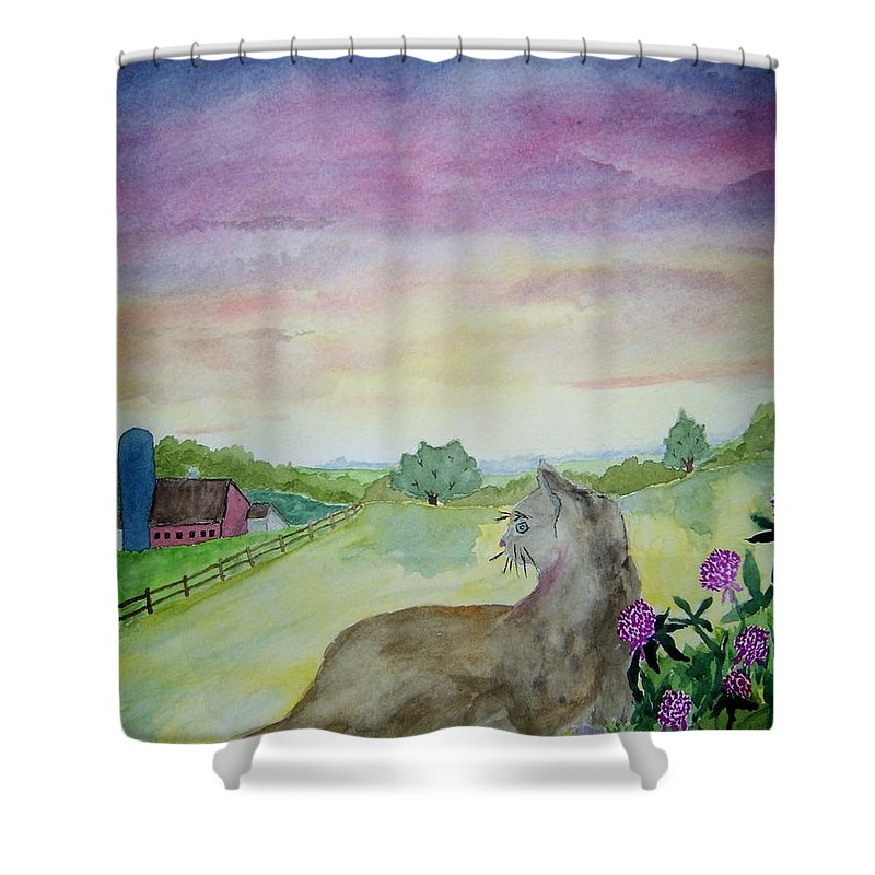 Landscape Shower Curtain featuring the painting Dawn Patrol by B Kathleen Fannin