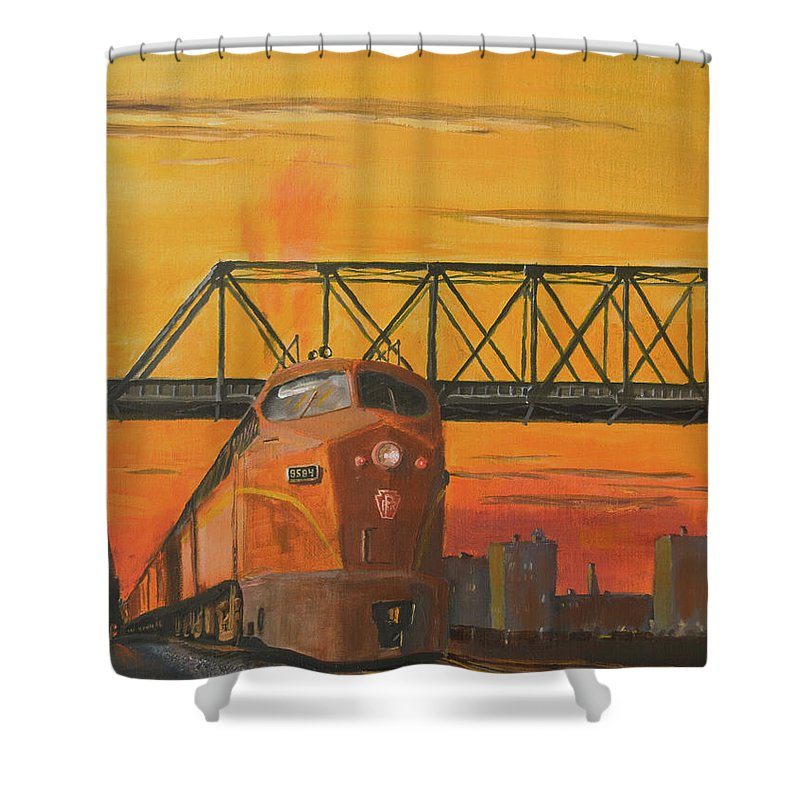 Train Shower Curtain featuring the painting Dawn Patrol by Christopher Jenkins