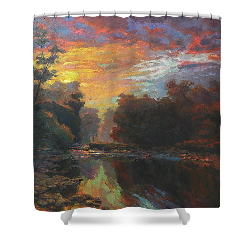 Country Shower Curtain featuring the painting Dawn by Steve Henderson