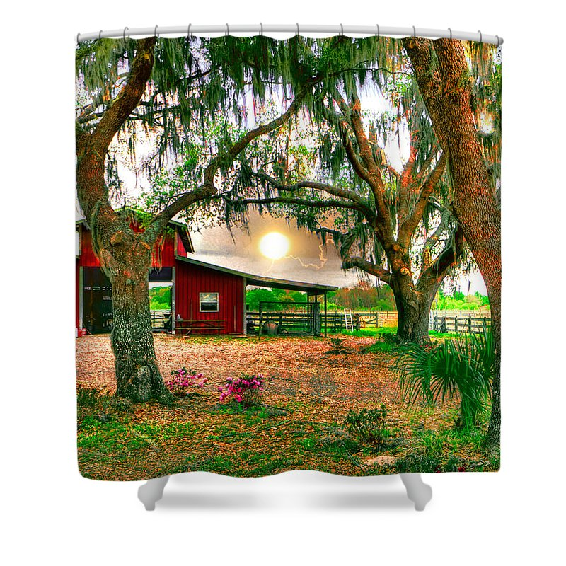 Morning Shower Curtain featuring the photograph Dawning At The Barn by Stephen Warren