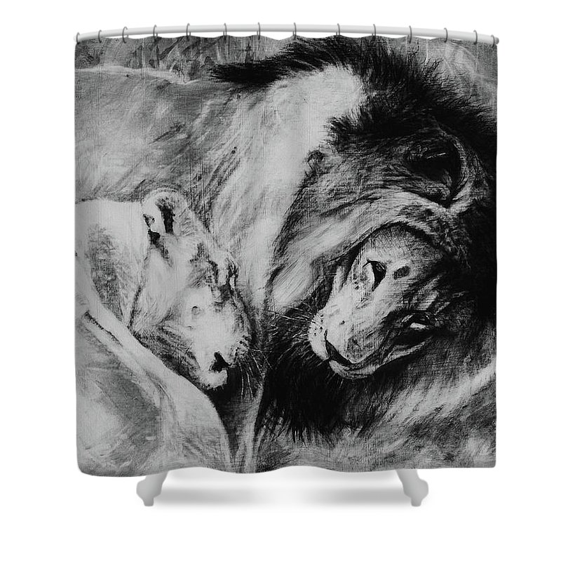 Creature Shower Curtain featuring the drawing Dawn's A Coming Open Your Eyes - Lions by Susie Gordon