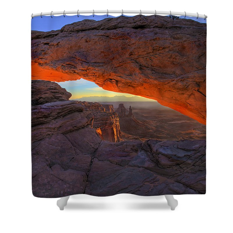 Mesa Arch Shower Curtain featuring the photograph Dawns Early Light by Mike Dawson
