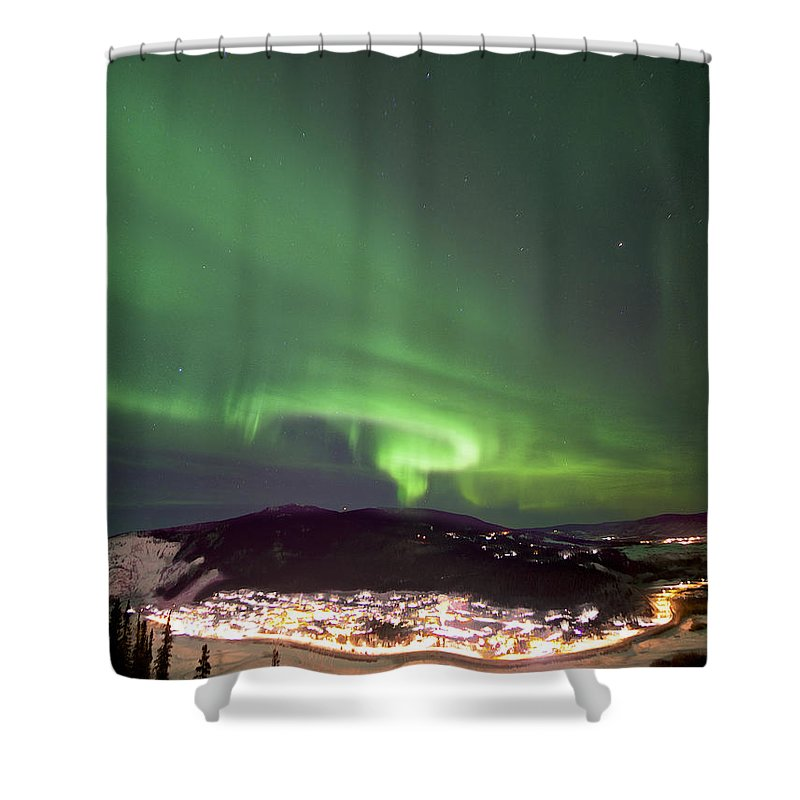 Dawson City Shower Curtain featuring the photograph Dawson City Lights by Craig Voth