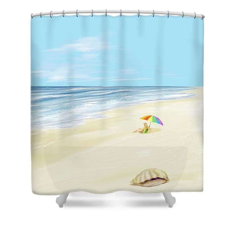 Beach Summer Sun Sand Waves Shells Shower Curtain featuring the digital art Day At The Beach by Veronica Jackson