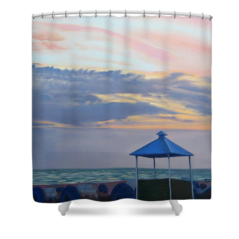 Sunset Shower Curtain featuring the painting Day Is Done by Lea Novak