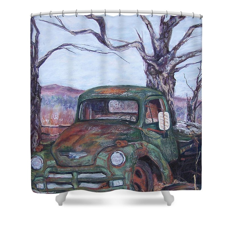Vintage Truck Shower Curtain featuring the pastel Day Of Rest - Old Friend Iv by Alicia Drakiotes