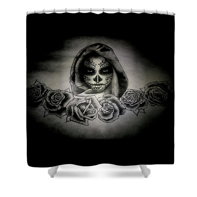 Day Shower Curtain featuring the painting Day Of The Dead by Alexander Dumas