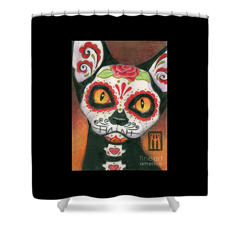 Day Of The Dead Cat Shower Curtain For Sale By Melissa A Benson