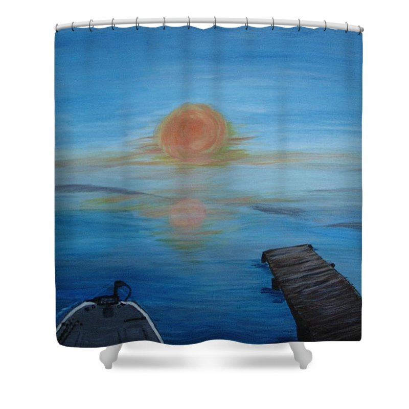 Sunrise Shower Curtain featuring the painting Day Out Fishing by Susan Voidets