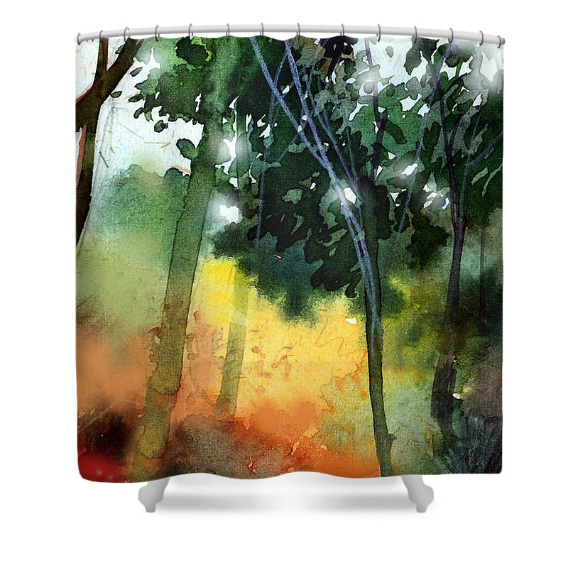 Water Color Shower Curtain featuring the painting Daybreak by Anil Nene